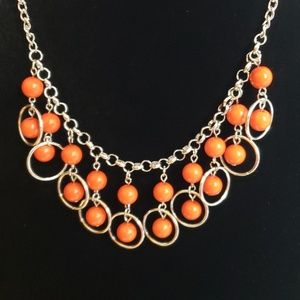 New Necklace w/Earrings Orange and Silver